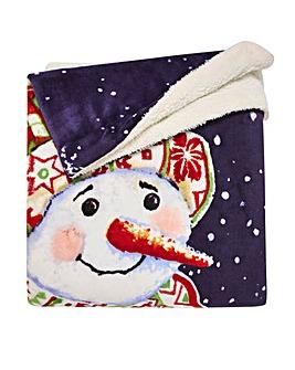 Happy Snowman Sherpa Fleece Throw