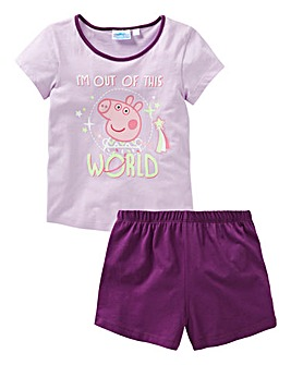 Peppa Pig Girls Glow In The Dark PJ Set