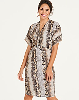 Snake Print Twist Knot Midi Dress