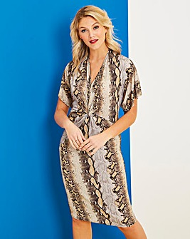 Snake Print Twist Knot Midi Dress