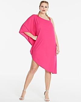 Simply Be Hot Pink Asymmetric Dress