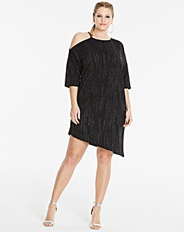 Simply Be Glitter Cold Shoulder Dress