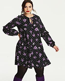 Spot/Floral Romantic Frill Sleeve Dress