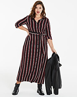 Stripe Print Maxi Shirt Dress