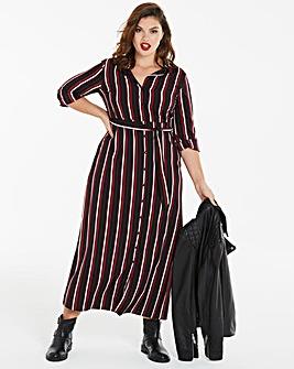Stripe Print Maxi Shirt Dress