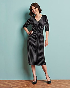 Pinstripe V-Neck Twist Knot Midi Dress