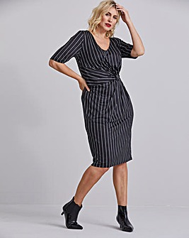 Pinstripe V-Neck Twist Knot Dress