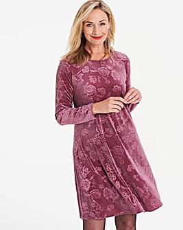 Dusty Pink Embossed Velour Swing Dress