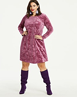 Embosed Velour Swing Dress