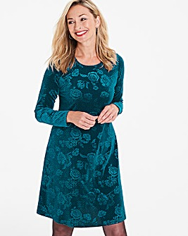 Teal Rose Embossed Velour Swing Dress