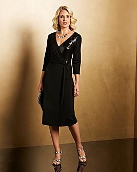 Black Sequin Panel Twist Knot Dress
