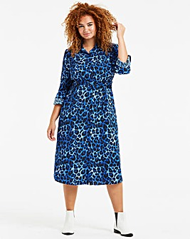 Blue Leopard Print Midi Shirt Dress