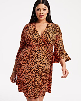 Orange Leopard Print Wrap Skater Dress