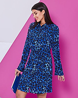 Blue Leopard Print Mini Shirt Dress