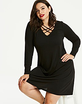 Black Strappy Neck Jersey Swing Dress
