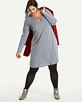 Strappy Neck Jersey Swing Dress