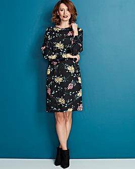 Floral Print Long Sleeve Shift Dress