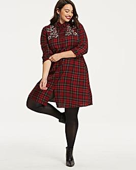 Check Swing Embellished Shirt Dress