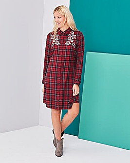 Check Swing Embellished Shirt Dress