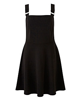 Black Ponte Pinafore Dress With Pockets