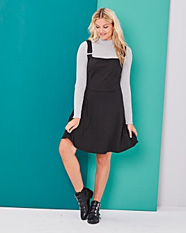 Black Ponte Pinafore Dress