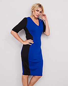 Black/Cobalt V-Neck Illusion Bodycon Dress