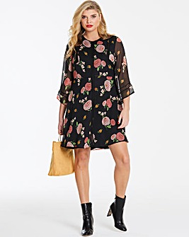 Black Floral Chiffon Skater Dress