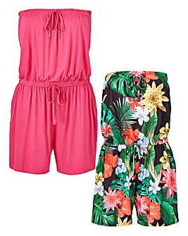 Pack of 2 Tropcial Bandeau Playsuits