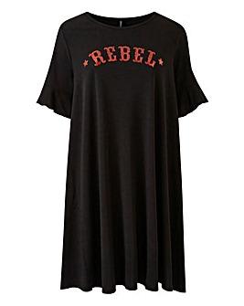 Rebel Slogan Swing Dress