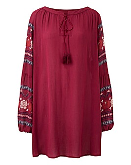 Print Sleeve Peasant Dress