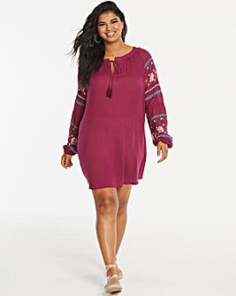 Print Sleeve Peasant Dress