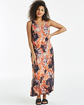 Tie Dye Knot Back Maxi Dress