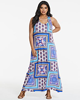 Scarf Print Knot Back Maxi Dress