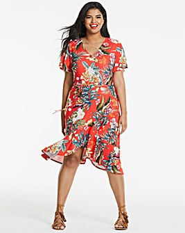 Midi Ruffle Wrap Dress