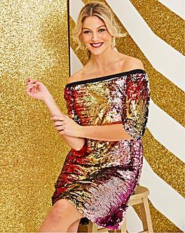 Sequin Bardot Swing Dress