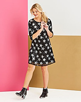 Black Star Sequin Swing Dress