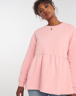 Pink Peplum Crew Neck Sweatshirt