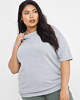 Grey Marl Short Sleeve Sweatshirt