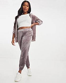Velour Charcoal Cuffed Joggers