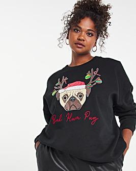 Christmas Pug Oversized Slogan Sweatshirt