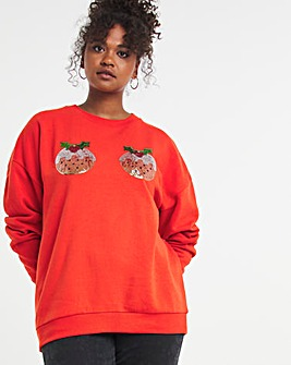 Christmas Pudding Oversized Sequin Sweatshirt