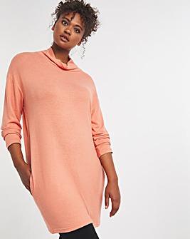 Peach High Neck Soft Touch Tunic