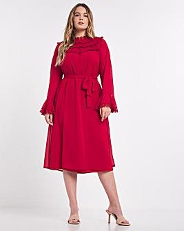 Hope & Ivy Heather Frill Midi Dress