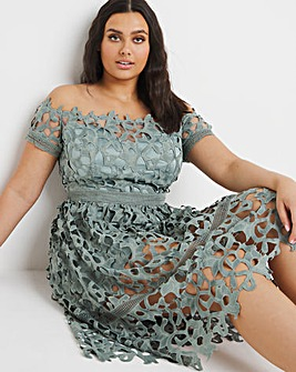Chi Chi London Bardot Lace Midi Dress