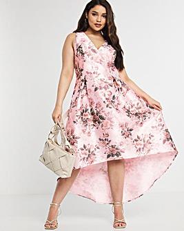 Chi Chi London Floral Dip Hem Dress