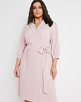 Chi Chi London Pleated Midi Wrap Dress