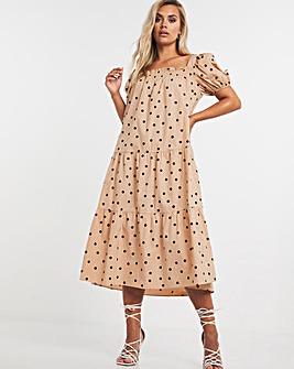 Chi Chi London Puff Sleeve Smock Dress