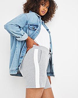 Grey Side Stripe Jogger Shorts