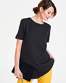 Petite Pleat Back Short Sleeve Blouse