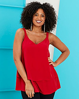 Red Double Layer Strappy Cami